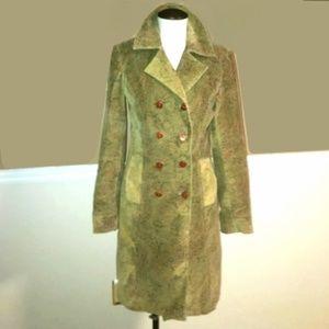 EXPRESS Olive Green Paisley Corduroy Pea Coat
